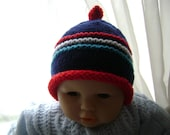 SALE Knitted Baby Beanie Hat  0 to 3 Months Antiallergic Yarn