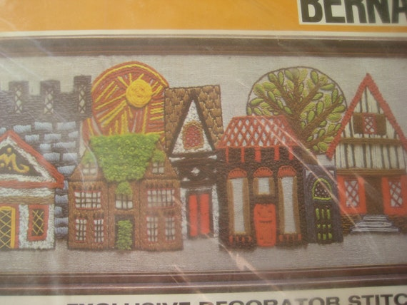 Vintage Crewel Kit, Bernat English Village Design in Crewelwork, Stitchery Kit