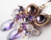 Gold fill Earrings w/ Amethyst, Rainbow Moonstone, Mauve Pearl & Cubic Zirconia: Geeta