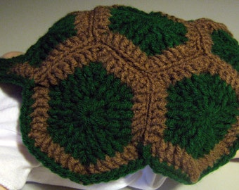 Hand Crocheted Newborn Turtle Cape and Hat Set