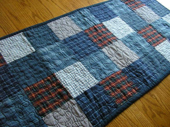 Homespun Blue Plaids Table Runner