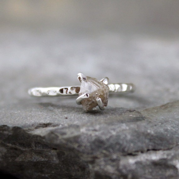Diamond In The Rough Uncut Diamond Solitaire Ring - Sterling Silver Ring - Handmade and Designed by A Second Time
