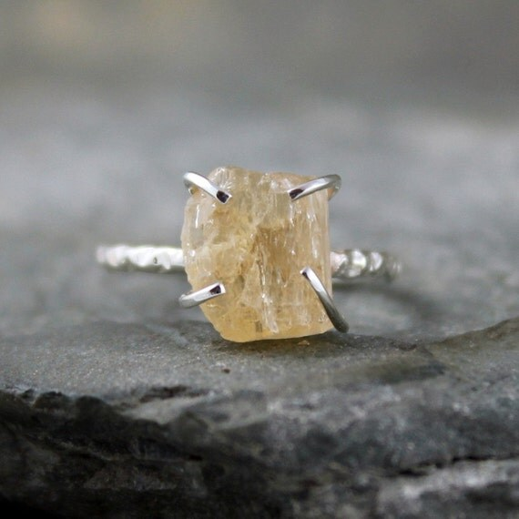 Yellow Topaz Ring - Imperial Topaz - Sterling Silver Solitaire  - Artisan Jewellery - Handmade and Designed by A Second Time