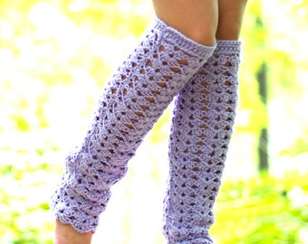 Lacy Leg Warmers - Thigh High - Lavender