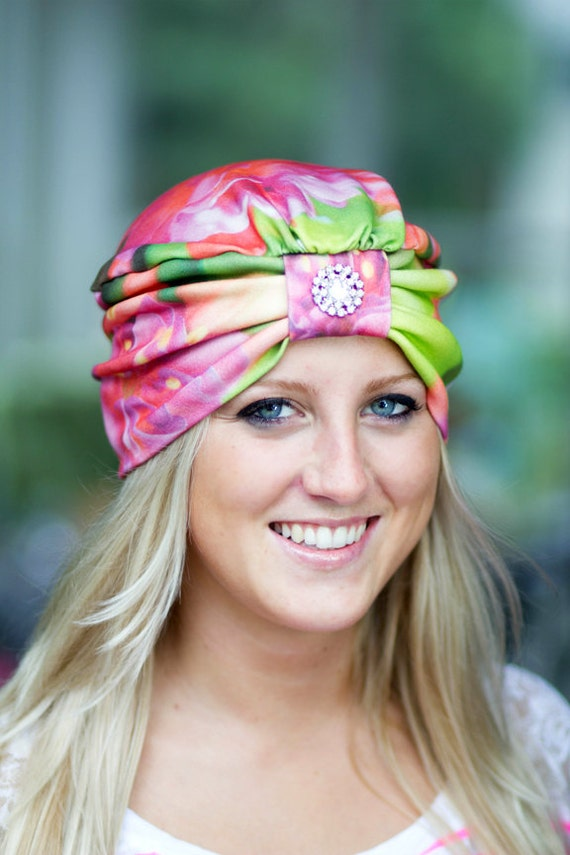 Wearable Art Turban - Fuchsia Flowers - Organic Cotton Knit