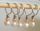 5 Stitch Markers White Pearls and Pink Beads Fits up too Size 11 or 8mm