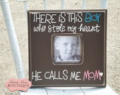 Child's Picture Frame, Mother and Son, Kid's Photo Holder, Boy's Photograph, Frame with Saying, Memory Keepsake, School Photos, Family Love