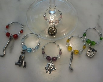 Dental Hygienist  Dentist  Wine Charms w pouch