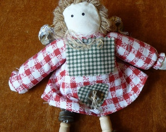 button doll ornament, supplies, angel, cottage chic, use for pattern, buttons, crafts, art, stuffed angel, home decor, primitive, Christmas
