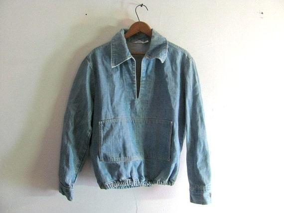 Vintage BIG SMITH Blue Denim Jean Pullover Shirt Jacket Coat / size small