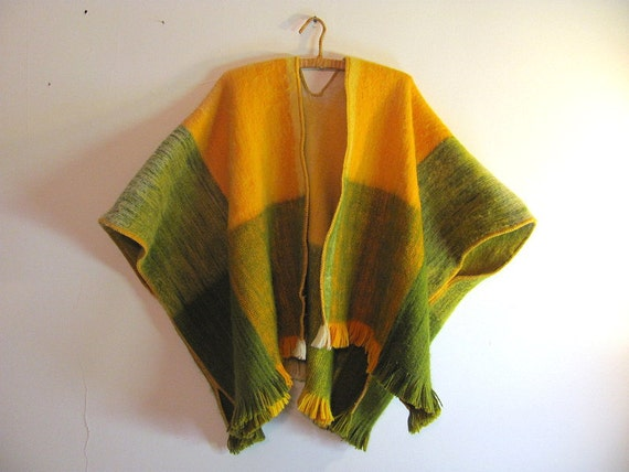 Vintage wool green and yellow wool poncho blanket coat