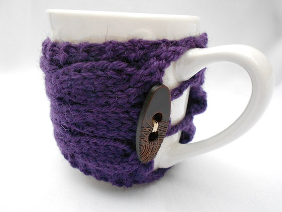 Knitted cup cozy. Cables. Cup warmer. Purple. Ready to ship.