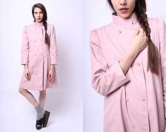 1990s Claudia Rothschild Princess Cut Primrose Trench Coat XS / S