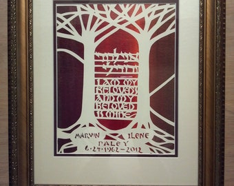 Papercut Wedding Gift - I am my beloveds and my beloved is mine