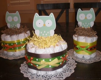 Hoot Owl Mini Diaper Cakes Baby Shower Centerpieces in pink and other colors and sizes too