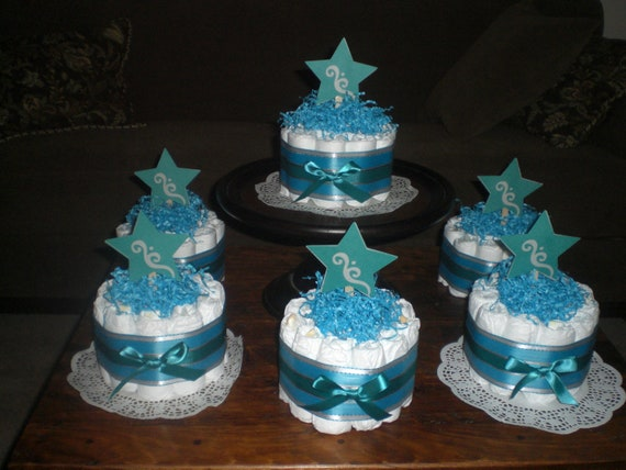Teal Grey And Aqua Blue Star Whimsical Bundt Diaper Cake Baby