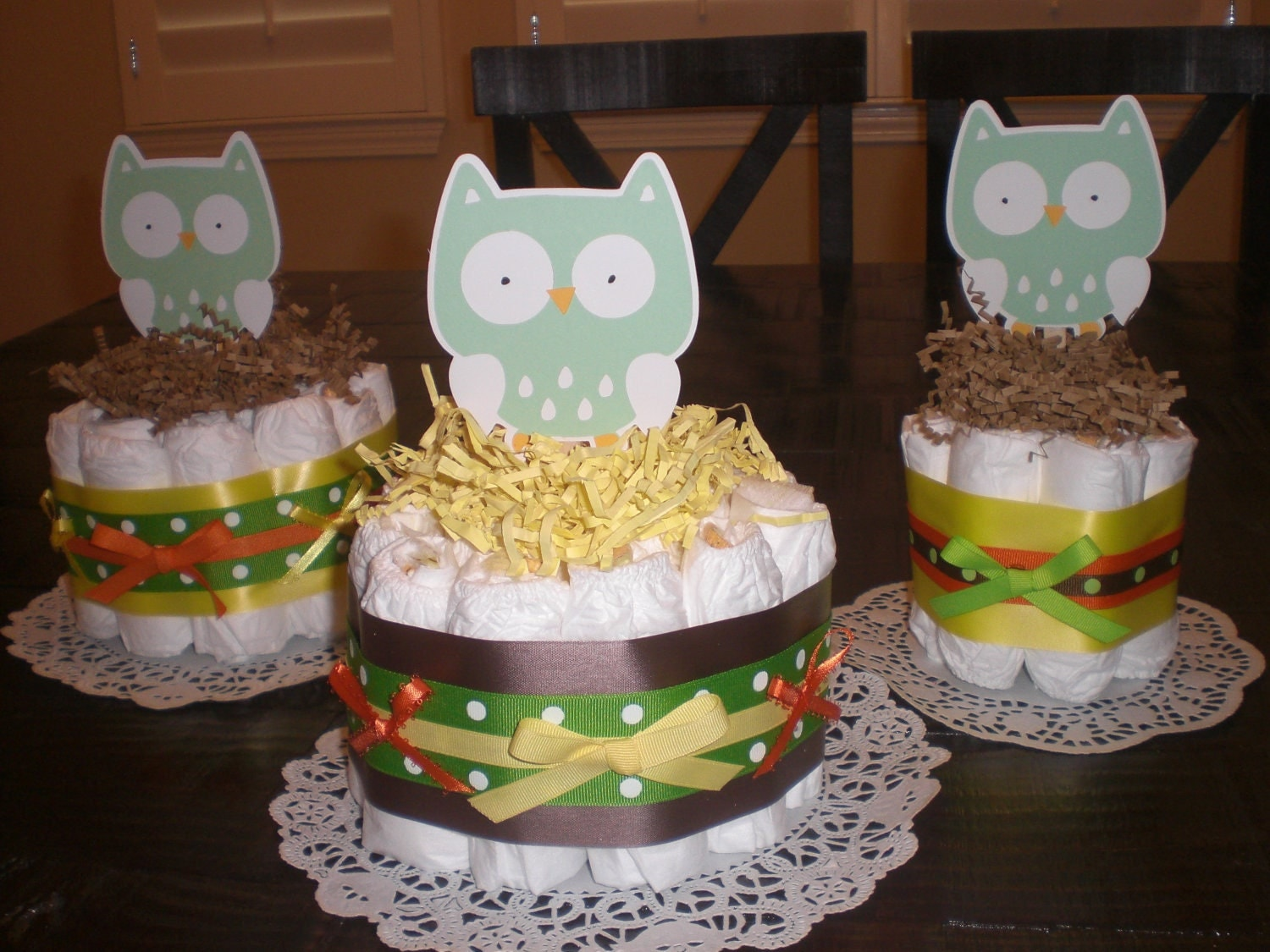 Cake Centerpieces For Baby Shower : Hoot Owl Mini Diaper Cakes Baby Shower Centerpieces in pink