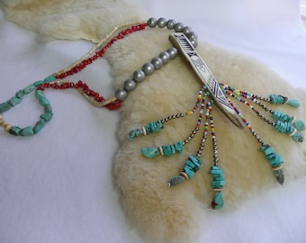 Native American Style Pow Wow Tribal Turquoise and Antler Necklace