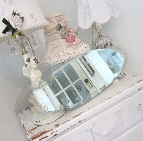 Antique Beveled Mirror - Shabby French Cottage Farmhouse Prairie Chic - Weathered Oval