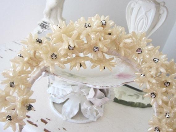 Antique French Wax Orange Blossom Bridal Tiara Vintage w/ Rhinestones