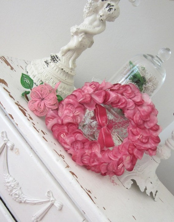 Vintage Hat with Netting - French Pink Millinery Flowers - Velvet Trim and Bow - Bandeau