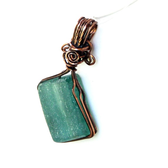 Teal Diamond Recycled Glass Pendant