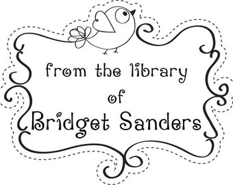 Library of ...Bird with scroll frame Custom  Rubber Stamp