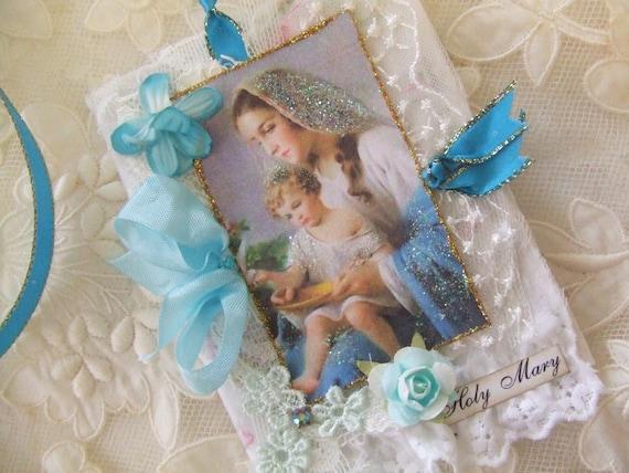 Virgin Mary  Mini Journal Blessed Mother Gift Aqua Ribbons
