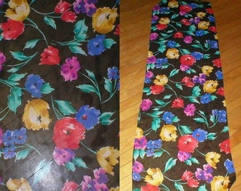 80s large Silk Floral Crepe Head/Neck Scarf