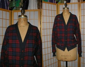 Vtg 80s Pendleton plaid wool Cardigan Sweater Size Mens size large