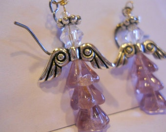 Lavendar Angel Earrings Easter Angel wings lavender fuchsia light pink angel Holiday Angel Jewelry Dainty Christian Earrings Made in USA
