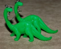 Vintage Ms. Frizzle  Bright Green Diplodocus Dinosaur Pierced Earring AM4