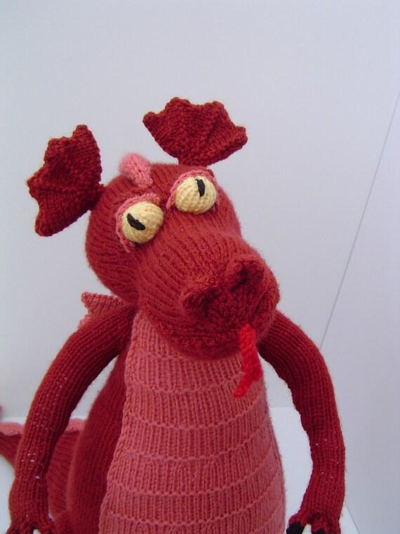 Large  orange dragon knitted plush