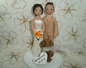 Personalized Bride & Groom with a Dog Wedding Cake Topper