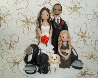 Customized Sky Diving Family with Pets Wedding Cake Topper