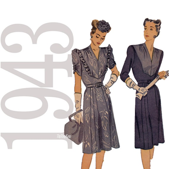1940s Vintage Sewing Pattern - Womens Dress Pattern - 40s Vintage Pattern - B34 - Simplicity 4993 - Printed Pattern Pieces