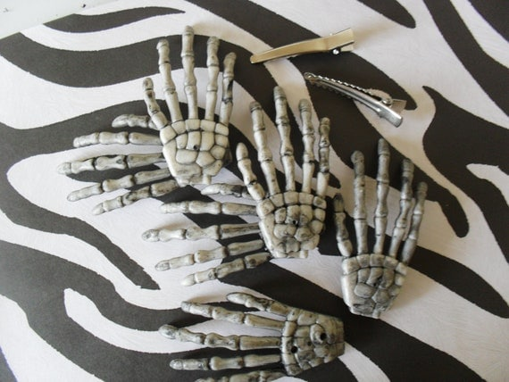 Skeleton hand charms, make your own  hairpins, do it yourself gift for teens, Craft gift ideas,  Halloween accessory, Stocking filler