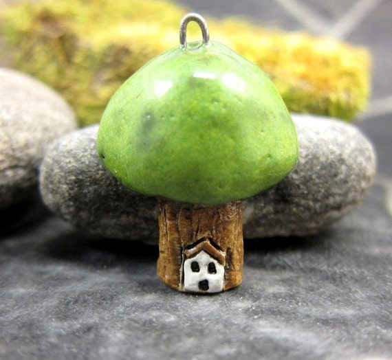 Tree Cottage...Stoneware Pendant