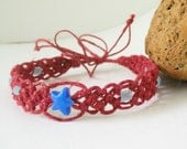 Blue Star and Glow in the dark Beads with Rose Hemp Macrame Bracelet/Anklet