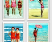 Retro beach girl print collection- best friends, sister, turquoise, pink, orange from original paintings by Cathie Carlson