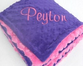 Deep Purple and Fuchsia Pink Minky Baby Blanket - for girl Can Be Personalized