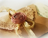 Wedding Invitations Shabby Chic Bridal Shower Invitation Tea Stained Ribbon Walnut Colored Doily Paper Flowers Made to Order