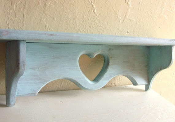 Big Shabby Chic Turquoise Blue Wood Wall Shelf Distressed with Heart Wooden