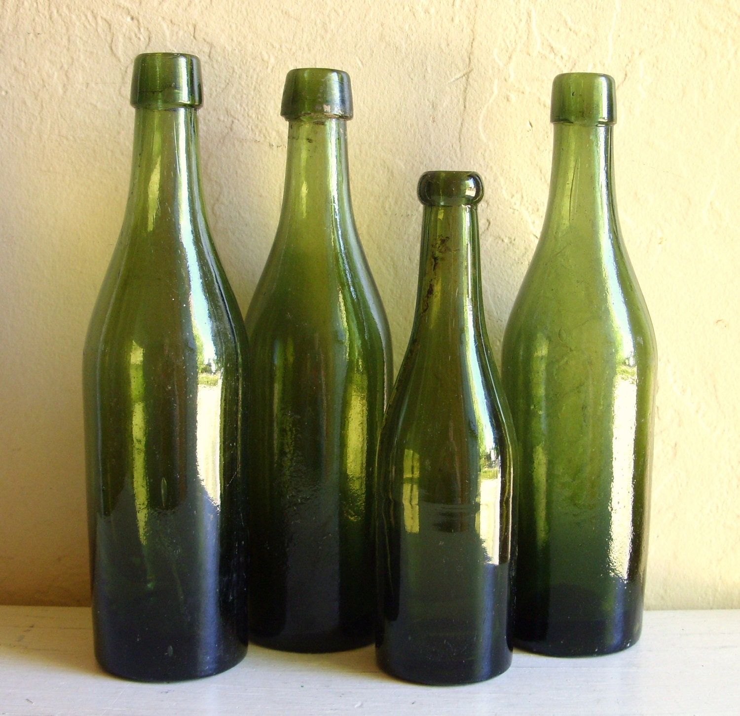 Dark Green Glass Bottles 4 Old Bottles Vignette Centerpiece