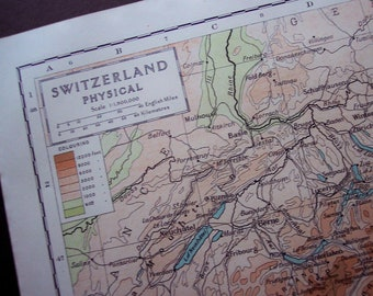 1929 Switzerland physical antique map - Vintage map to frame