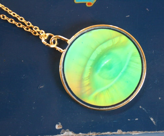 "2 left- 90s Hologram EYE Glass Charm on 24"" Long Necklace"