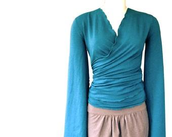 Kimono wrap top, organic cotton shirt, women's sweatshirt, teal turquoise top, knit top yoga wrap top, handmade sweatshirt, organic clothes