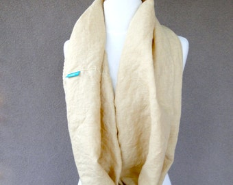 Linen infinity scarf  wrap neck warmer in tan / beige