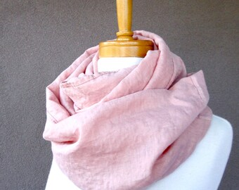 Oversized linen scarf, blush rose infinity wrap, dusty rose scarf, pink linen infinity scarf ready to ship