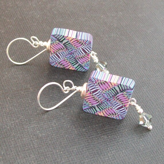 artisan polymer clay earrings black and  purple,  pink, blue, and violet abstract beads-  weaver